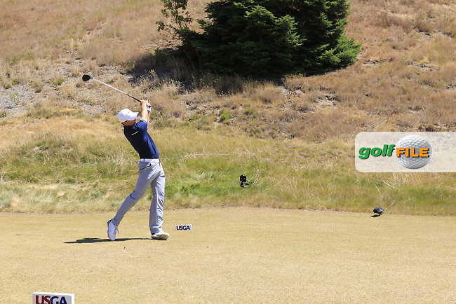 Jordan Speith (USA) tees off the 8th tee during Friday's Round 2 of the 2015 U.S. Open 115th National Championship held at Chambers Bay, Seattle, Washington, USA. 6/19/2015.<br /> Picture: Golffile | Eoin Clarke<br /> <br /> <br /> <br /> <br /> All photo usage must carry mandatory copyright credit (&copy; Golffile | Eoin Clarke)