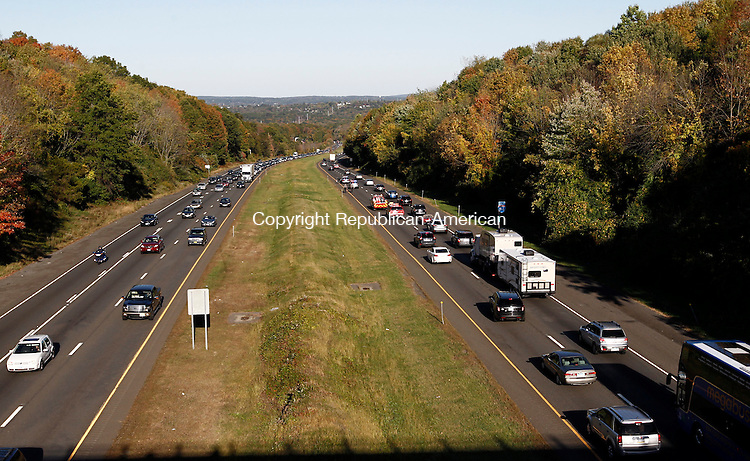 Middlebury, CT- 05 October 2014-100514CM14-  Traffic slows on the east bound lane on I-84 in Middlebury on Sunday.  Several accidents near the South Street bridge tied up traffic for miles.    Christopher Massa Republican-American