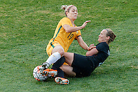 June 4, 2016: KATRINA GORRY (19) of Australia and KATIE DUNCAN (4) of New Zealand fight for the ball during an international friendly match between the Australian Matildas and the New Zealand Football Ferns as part of the teams' preparation for the Rio Olympic Games at Morshead Park in Ballarat. Photo Sydney Low