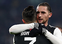 Calcio, Coppa Italia round 8 : Juventus - AS Roma, Turin, Allianz Stadium, January 22, 2020.<br /> Juventus' Cristiano Ronaldo  (l) celebrates after scoring with his teammate Adrien Rabiot  (r) during the Italian Cup football match between Juventus and Roma at the Allianz stadium in Turin, January 22, 2020.<br /> UPDATE IMAGES PRESS/Isabella Bonotto