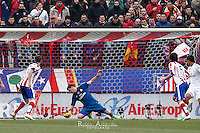 The moment of goal at Altetico de Madrid ( Tiago) Real Madrid´s spanish Iker Casillas