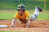 Siena Saints left fielder Chris Davignon (15) dives back to first base on a pick off attempt during a game against the Pittsburgh Panthers on February 24, 2017 at Historic Dodgertown in Vero Beach, Florida.  Pittsburgh defeated Siena 8-2.  (Mike Janes/Four Seam Images)