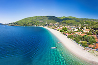 The beach Panormos of Skopelos island from drone, Greece