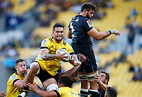 Vaea Fifita of the Hurricanes takes lineout ball during the Super Rugby match between the Hurricanes and the Cell C Sharks at Sky Stadium in Wellington, New Zealand on Saturday, 15 February 2020. Photo: Steve Haag / stevehaagsports.com