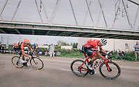 Toms Skujins (LAT/Trek Segafredo) looking back at the dammage (after attacking hard & breaking free from the bunch)<br /> <br /> 52nd GP Jef Scherens - Rondom Leuven 2018 (1.HC)<br /> 1 Day Race: Leuven to Leuven (186km/BEL)