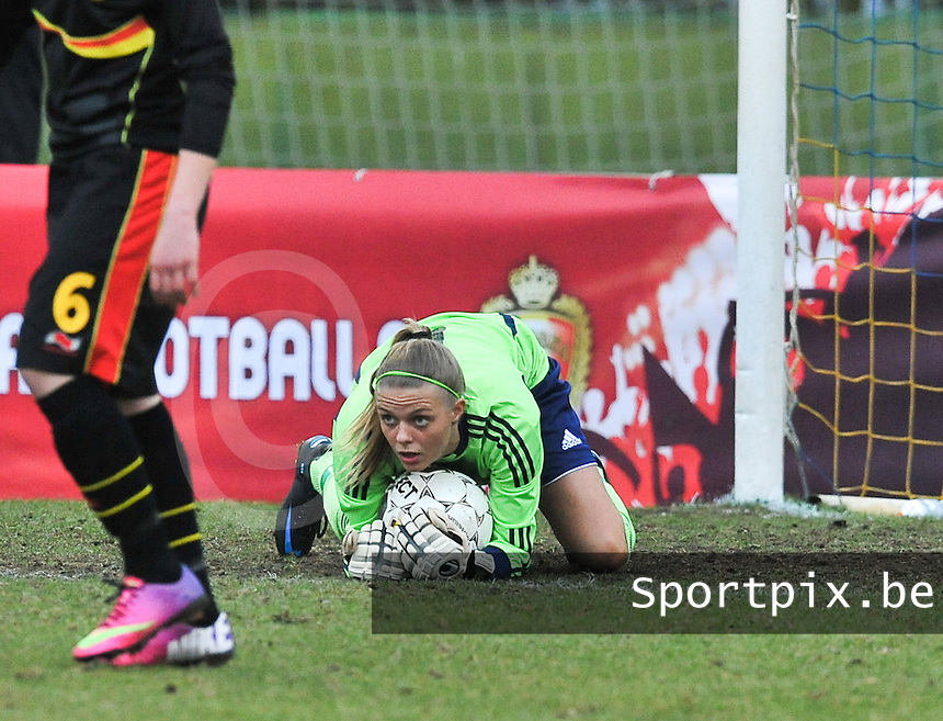 Denmark U17 - Belgium U17 : .Naja Bahrenscheer (GK).foto DAVID CATRY / Vrouwenteam.be
