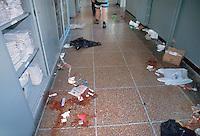- demonstrations against the international G8 summit in Genoa, July 2001, the Diaz school, center of the Social Forum, after the bloody police onslaught....- manifestazioni contro il summit internazionale G8 a Genova nel luglio 2001, la scuola Diaz, sede dei Social Forum, dopo il sanguinoso assalto della polizia