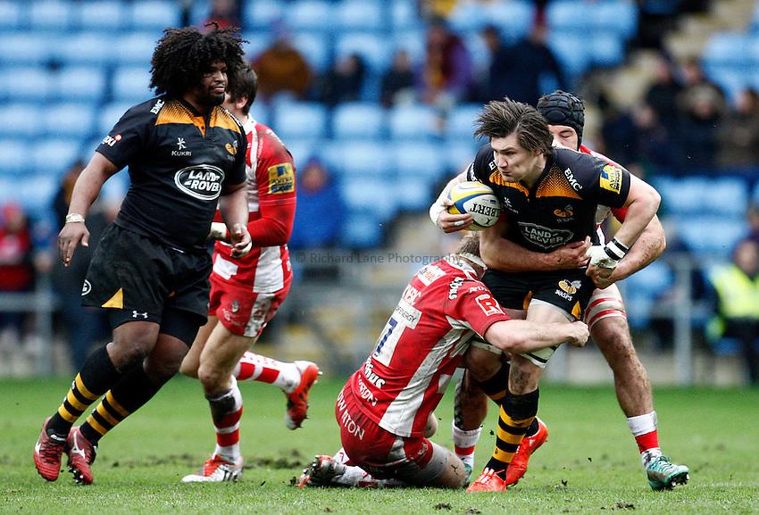 Photo: Richard Lane/Richard Lane Photography. Wasps v Gloucester Rugby. Aviva Premiership. 01/03/2015. Wasps' Guy Thompson attacks.