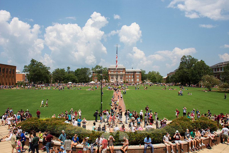 Students viewing the solar eclipse on the Drill Field<br />  (photo by Camille Carskadon / &copy; Mississippi State University)