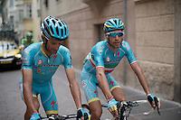 Vincenzo Nibali (ITA/Astana) & Michele Scarponi (ITA/Astana) to the start<br /> <br /> stage 16: Bressanone/Brixen - Andalo 132km<br /> 99th Giro d'Italia 2016