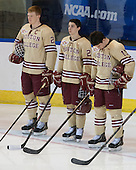 Patrick Brown (BC - 23), Matthew Gaudreau (BC - 21), Ryan Fitzgerald (BC - 19) - The Boston College Eagles defeated the University of Denver Pioneers 6-2 in their NCAA Northeast Regional semi-final on Saturday, March 29, 2014, at the DCU Center in Worcester, Massachusetts.