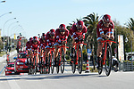 Katusha-Alpecin team in action during the 1st stage of the race of the two seas, 52nd Tirreno-Adriatico by NamedSport a 22.7km Team Time Trial around Lido di Camaiore, Italy. 8th March 2017.<br /> Picture: La Presse/Fabio Ferrari | Cyclefile<br /> <br /> <br /> All photos usage must carry mandatory copyright credit (&copy; Cyclefile | La Presse)