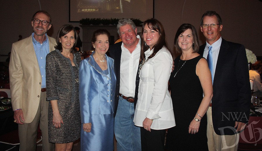 NWA Democrat-Gazette/CARIN SCHOPPMEYER Bob and Becky Alexander (from left), Marilyn Bogle, David and Tina Bogle and Ann and Jim McKenzie gather at the Symphony of Northwest Arkansas Spring Gala on March 15 at St. Paul's Episcopal Church in Fayetteville.