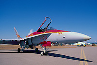 Canadian Forces Boeing CF-18 (aka F/A-18) Hornet Military Aircraft on Static Display - 60th Anniversary Special Paint Commemoration - at Abbotsford International Airshow, BC, British Columbia, Canada