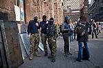 Young men of the &quot;new Kiev Police&quot; in front of a recruiting center in Kiev, Ukraine.<br /> Uomini appartenenti alla nuova polizia di Kiev davanti a una delle sedi di reclutamento, Kiev, Ukraina.