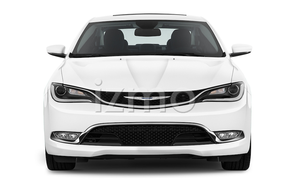Car photography straight front view of a2015 Chrysler 200 C 4 Door Sedan Front View
