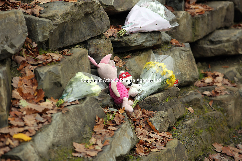 Pictured: Tributes left at the entrance to the track leading to the house that burned in Llangammarch Wells, Powys, Wales, UK. Tuesday 31 October 2017<br /> Re: Investigations continue into a house fire in which a father and several of his children have died.<br /> Three children aged 13, 12 and 10 escaped the farmhouse in Llangammarch Wells, Powys, in the early hours of Monday and raised the alarm.<br /> Police said they could not identify the deceased or confirm numbers.<br /> One of those missing has been named locally as David Cuthbertson.