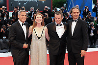 From left, U.S. director George Clooney, actors Julianne Moore and Matt Damon and film composer Alexandre Desplat pose on the red carpet for the screening of the movie 'Suburbicon' at the 74th Venice Film Festival, Venice Lido, September 2, 2017. <br /> UPDATE IMAGES PRESS/Marilla Sicilia<br /> <br /> *** ONLY FRANCE AND GERMANY SALES ***