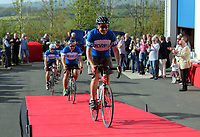 The five cyclists arrive at the FRIO UK factory
