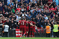 Roberto Firmino of Liverpool is congratulated after scoring the second goal during Tottenham Hotspur vs Liverpool, Premier League Football at Wembley Stadium on 15th September 2018