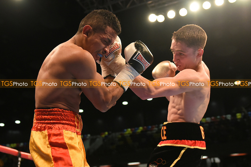 Reece Bellotti (black/red shorts) defeats Elvis Guillen during a Boxing show at the Copper Box Arena, promoted by Matchroom Sports
