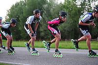 INLINE-SKATEN: STEENWIJK: Gagelsweg (start/finish), Schansweg, Meppelerweg, KPN Inline Cup, Klim van Steenwijk, 02-05-2012, Jore v.d. Berghe (#534), Michael Cheek (#532), Kim ji Won (#539), ©foto Martin de Jong
