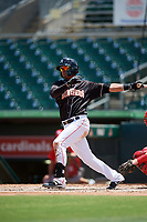Jupiter Hammerheads left fielder Jhonny Santos (30) hits a foul ball during a game against the Palm Beach Cardinals on August 5, 2018 at Roger Dean Chevrolet Stadium in Jupiter, Florida.  Jupiter defeated Palm Beach 3-0.  (Mike Janes/Four Seam Images)