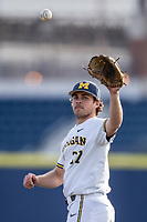 Michigan Wolverines pitcher Karl Kauffmann (37) in action against the San Jose State Spartans on March 27, 2019 in Game 1 of the NCAA baseball doubleheader at Ray Fisher Stadium in Ann Arbor, Michigan. Michigan defeated San Jose State 1-0. (Andrew Woolley/Four Seam Images)