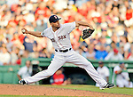 9 June 2012: Boston Red Sox pitcher Alfredo Aceves on the mound against the visiting Washington Nationals at Fenway Park in Boston, MA. The Nationals defeated the Red Sox 4-2 in the second game of their 3-game series. Mandatory Credit: Ed Wolfstein Photo