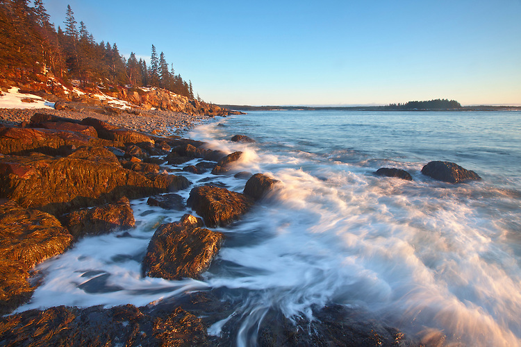 Waves crash onto the eastern coastline on the Schoodic Peninsula, Acadia National Park, Maine, USA