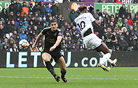 Tammy Abraham of Swansea City attempts a Back heel during the Premier League match between Swansea City and Leicester City at The Liberty Stadium, Swansea, Wales, UK. Saturday 21 October 2017
