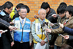March 30, 2011, Kazo, Japan - Mayor Katsutaka Idogawa, right, of Futabamachi of Fukushima prefecture speaks to the media during relocation of its residents and the town government functions to a building of the now-defunct prefectural Kisai High School in Kazo in Saitama prefecture, 50 km north of Tokyo, on Wednesday, March 30, 2011. About 1,200 residents of Futabamachi, neighboring the trouble-stricken Fukushima No.1 nuclear power plant located some 240 km nortrheast of Tokyo, were evacuated to Saitama Arena and now to the new location. Town government functions also have been established in the school, with the principal's office converted into the office of the Futabamachi mayor. At left is Kazo Mayor Ryoichi Ohashi. (Photo by AFLO) [3620] -mis-
