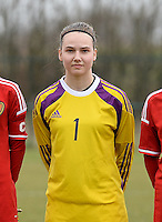 20150226 - Tubize , Belgium : Belgian Silke Baccarne pictured during the friendly female soccer match between Women under 17 teams of  Belgium and Scotland  . Thursday 26th February 2015 . PHOTO DAVID CATRY
