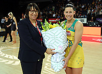 15.10.2016 Australia's coach Lisa Alexander and Madi Robinson in action during the Silver Ferns v Australia netball test match played at Vector Arena in Auckland. Mandatory Photo Credit ©Michael Bradley.