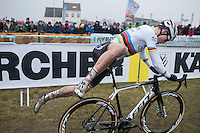 Wout Van Aert (BEL/Crelan-Willems) jumping on a fresh bike in the pit zone<br /> <br /> elite men's race<br /> CX Superprestige Noordzeecross <br /> Middelkerke / Belgium 2017