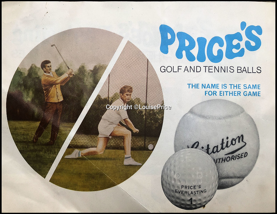 BNPS.co.uk (01202 558833)Pic: LouisePrice/BNPS<br /> <br /> Advert for golf balls and tennis balls in 1970s when tennis balls were white before yellow US ball took over.<br /> <br /> Price of Bath was set up by her grandfather Joseph in the 1930's and after WW2 employed 120 people churning out 84,000 balls a week - nowadays it's the last tennis ball maker in the western world, and produces a much more modest 6000 balls a week from raw rubber from Malaysia to finished product.Louise's father Derek, who invented the rubber tiles used on nuclear powered submarines as well as running the family business, still works full time in the dickensian factory at the age of 88.
