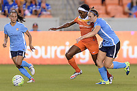 Houston, TX - Friday April 29, 2016: Chioma Ubogagu (9) of the Houston Dash and Ashley Nick (10) of Sky Blue FC battle for control of a loose ball at BBVA Compass Stadium. The Houston Dash tied Sky Blue FC 0-0.
