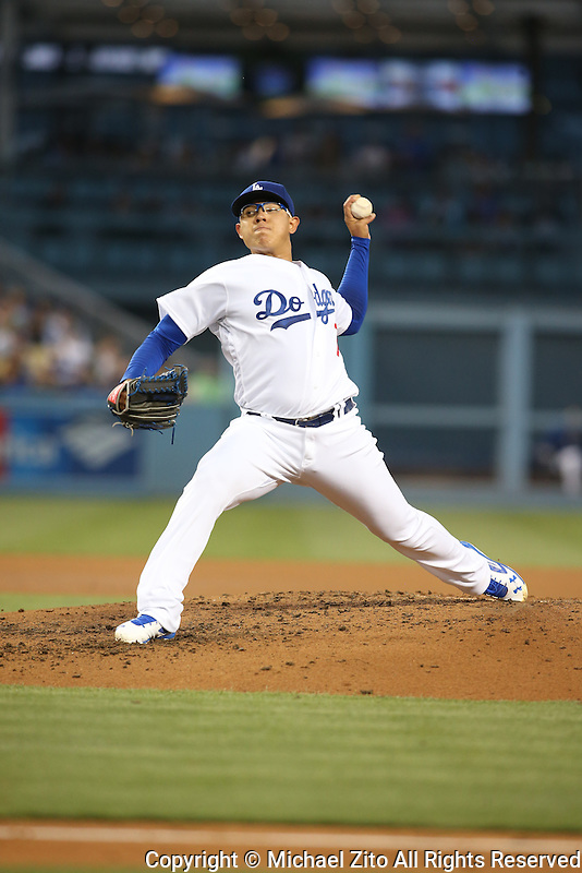 June 7, 2016, Los Angeles, CA: Los Angeles Dodgers starting pitcher Julio Urias #7 during a MLB game played at Dodger Stadium between the Colorado Rockies and Los Angeles Dodgers