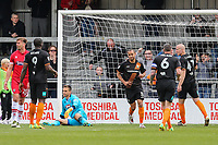 Curtis Weston of Barnet (3rd right) celebrates after he scores his team's third goal of the game to make the score 3-0 during the Sky Bet League 2 match between Barnet and Grimsby Town at The Hive, London, England on 29 April 2017. Photo by David Horn.