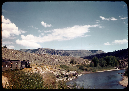 D&amp;RGW #361 C-21 with excursion train leaving Black Canyon and heading east (pallisades along Gunnison River in left background)<br /> D&amp;RGW  Black Canyon, CO  Taken by Maxwell, John W. - 9/7/1947