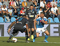 27th October 2019; Stadio Paolo Mazza, Ferrara, Emilia Romagna, Italy; Serie A Football, SPAL versus Napoli; Dries Mertens of Napoli challenges Reca of Spal  - Editorial Use