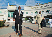 Ray Lewis walks to the Fifth Annual Race for Grace fundraiser on Millionaire's Row at Churchill Downs in Louisville, Kentucky on April 29, 2013.