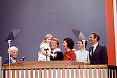Governor Jimmy Carter (Democrat of Georgia), the 1976 Democratic Party nominee for President of the United States,  following his acceptance speech at the 1976 Democratic Convention  at Madison Square Garden, New York, New York on July 15, 1976.  From left to right: Miss Lillian Carter, Jimmy Carter's mother; Amy Carter, daughter; Gov. Carter; wife Rosalynn Carter;  US Senator Walter Mondale (Democrat of Minnesota), the 1976 Democratic Party nominee for Vice President of the US; and Mondale's wife, Joan Mondale.<br /> Credit: Arnie Sachs / CNP