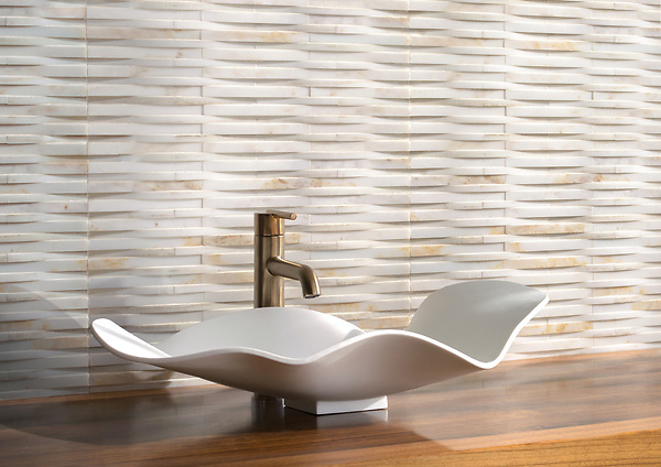 Cane Weave, a hand-cut stone mosaic, shown in honed Cloud Nine, is part of the Tissé® collection for New Ravenna.
