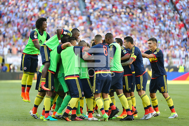 Santa Clara, CA - Friday June 03, 2016: Colombia celebrates a goal during a Copa America Centenario Group A match between United States (USA) and Colombia (COL) at Levi's Stadium.