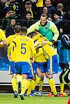 Solna 2015-11-14 Fotboll EM-kval , Sverige - Danmark :  <br /> Sveriges Emil Forsberg gratuleras av lagkamrater efter sitt 1-0 m&aring;l under matchen mellan Sverige och Danmark <br /> (Photo: Kenta J&ouml;nsson) Keywords:  Sweden Sverige Solna Stockholm Friends Arena EM Kval EM-kval UEFA Euro European 2016 Qualifying Qualifier Playoff Denmark Danmark jubel gl&auml;dje lycka glad happy