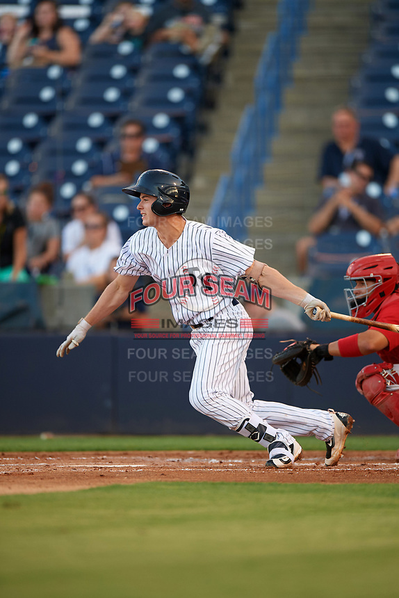 Tampa Yankees second baseman Nick Solak (39) at bat during a game against the Palm Beach Cardinals on July 25, 2017 at George M. Steinbrenner Field in Tampa, Florida.  Tampa defeated Palm beach 7-6.  (Mike Janes/Four Seam Images)
