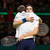 Rotterdam, The Netherlands, 18 Februari, 2018, ABNAMRO World Tennis Tournament, Ahoy, Doubles final, Pierre-Hugues Herbert (FRA) / Nicolas Mahut (FRA)celebrate<br />