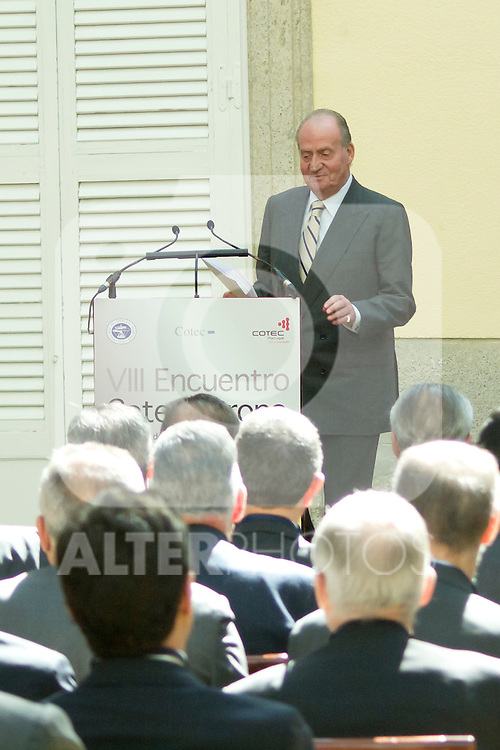 03.10.2012. VIII COTEC Europe Meeting, co-chaired by King Juan Carlos of Spain, the President of the Italian Republic, Giorgio Napolitano, and the President of the Portuguese Republic, Aníbal Cavaco Silva, at the Royal Palace of El Pardo, Madrid, Spain. In the image King Juan Carlos (Alterphotos/Marta Gonzalez)