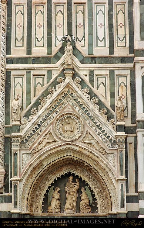 Lunette Tympanum and Tondo over Porta dei Canonici 14th c Facade Santa Maria del Fiore Florence